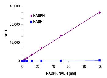SensoLyte® NADP/NADPH アッセイキット*Fluorimetric*の検量線