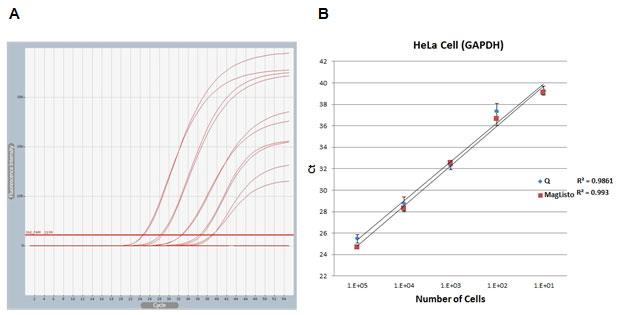 本キットおよび他社キット(シングルカラムタイプ)で精製した、HeLa細胞(1x10^1〜1x10^5)由来ゲノムDNAのリアルタイムqPCRデータの比較
