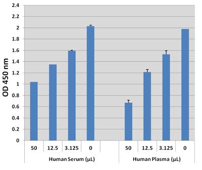 図3.ヒト血清および血漿中のSAHを検出